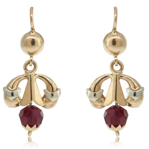 Vintage 18ct Yellow Gold Victorian Red Bead Drop Earrings - Walker & Hall