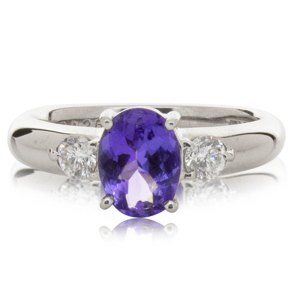 Deja Vu Platinum .96ct Tanzanite & Diamond Ring - Walker & Hall