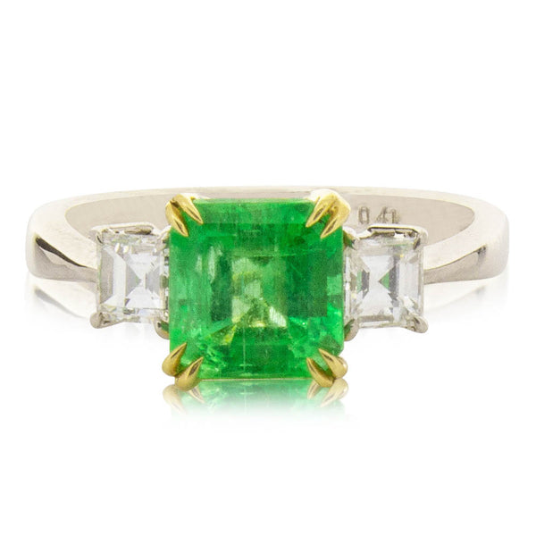Deja Vu 18ct Yellow Gold & Platinum 1.25ct Emerald & Diamond Ring - Walker & Hall