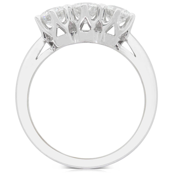 18ct White Gold 1.26ct Diamond Trilogy Ring - Walker & Hall