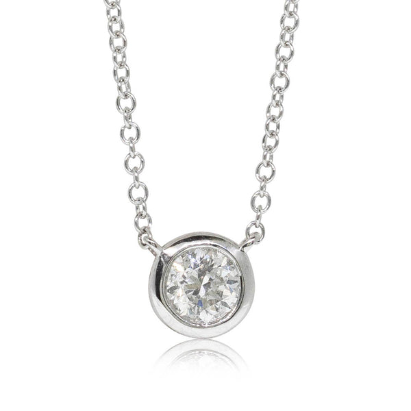 18ct White Gold .47ct Diamond Solitaire Pendant - Walker & Hall