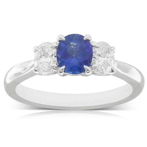 18ct White Gold .92ct Sapphire & Diamond Trilogy Ring - Walker & Hall