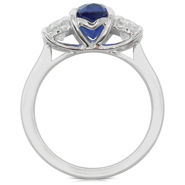 18ct White Gold 2.48ct Sapphire & Diamond Ring - Walker & Hall