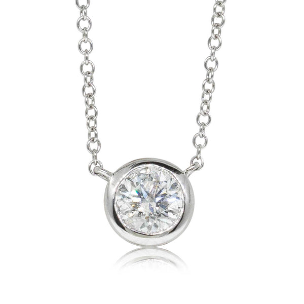 18ct White Gold .71ct Diamond Solitaire Pendant - Walker & Hall