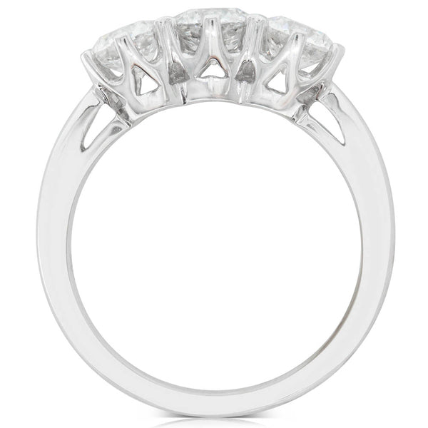 18ct White Gold 1.60ct Diamond Trilogy Ring - Walker & Hall