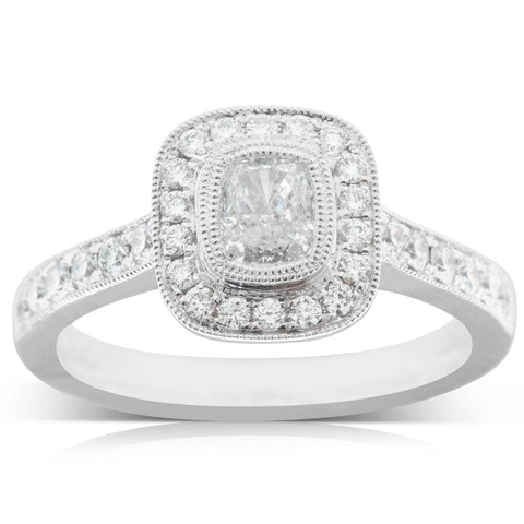 18ct White Gold .51ct Diamond Halo Ring - Walker & Hall