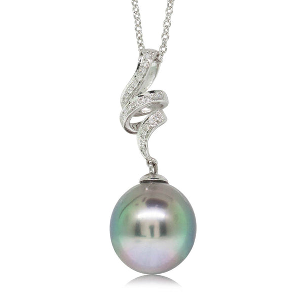 18ct White Gold 11.9mm Black Pearl & Diamond Pendant - Walker & Hall