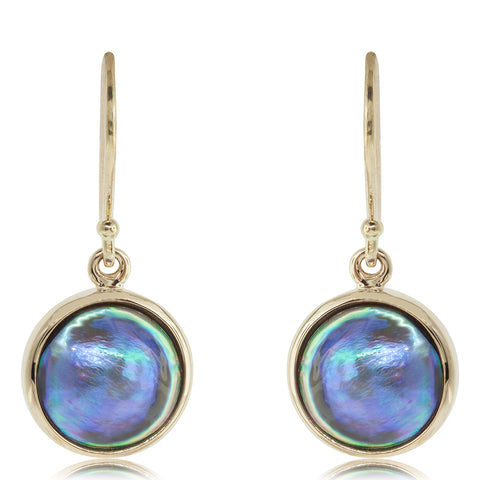 9ct Yellow Gold Paua Pearl Drop Earrings - Walker & Hall