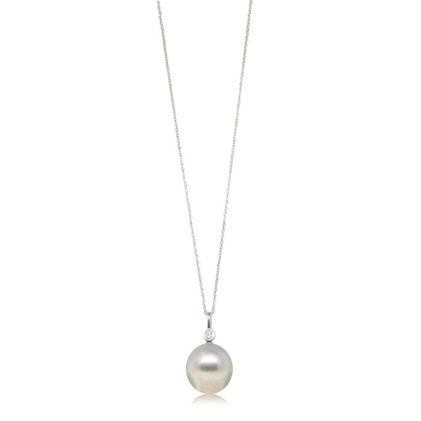18ct White Gold 14.8mm South Sea Pearl & Diamond Pendant - Walker & Hall