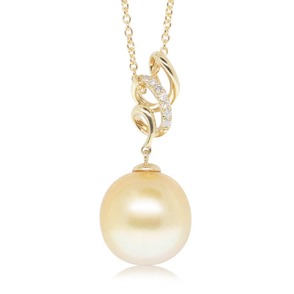 18ct Yellow Gold 12.3mm Gold South Sea Pearl & Diamond Pendant - Walker & Hall