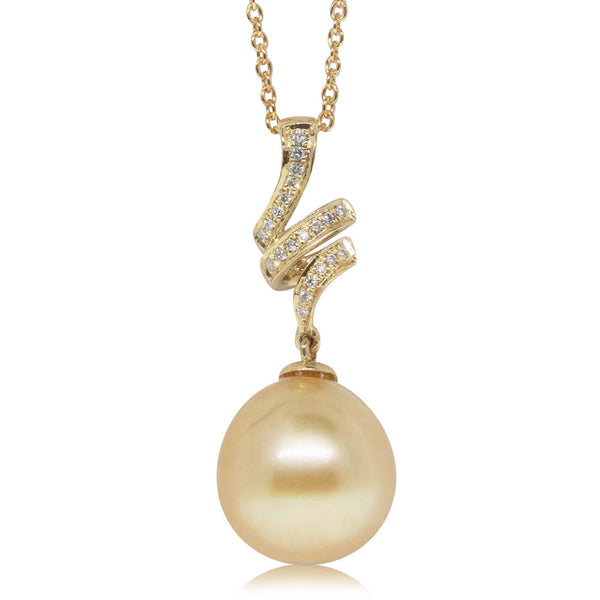 18ct Yellow Gold 11.3mm Golden South Sea Pearl & Diamond Pendant - Walker & Hall