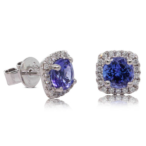 18ct White Gold 1.92ct Tanzanite & Diamond Peony Earrings - Walker & Hall