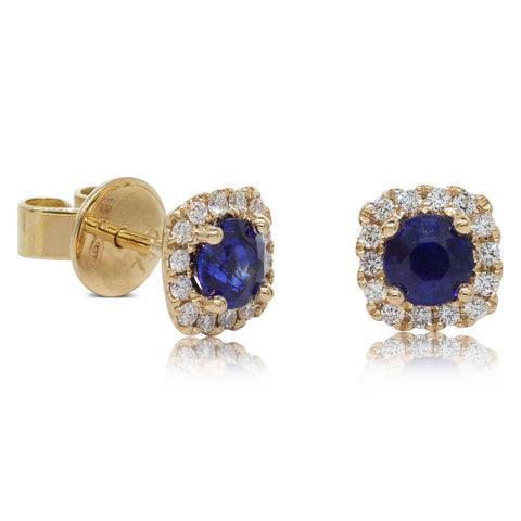 18ct Yellow Gold .97ct Sapphire & Diamond Peony Earrings - Walker & Hall