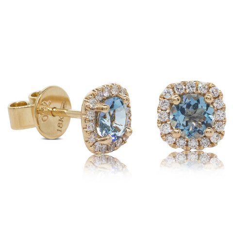 18ct Yellow Gold .74ct Aquamarine & Diamond Peony Earrings - Walker & Hall