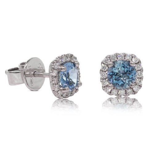 18ct White Gold .71ct Aquamarine & Diamond Peony Earrings - Walker & Hall