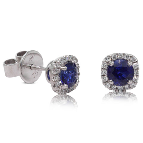 18ct White Gold 1.11ct Sapphire & Diamond Peony Earrings - Walker & Hall