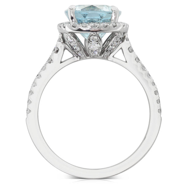 18ct White Gold 3.26ct Aquamarine & Diamond Halo Ring - Walker & Hall