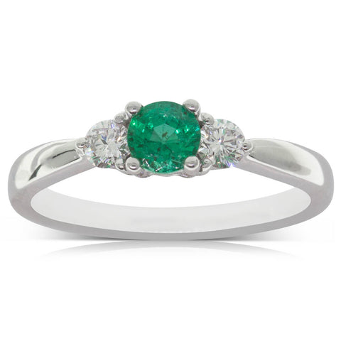Platinum .37ct Emerald & Diamond Elysian Ring - Walker & Hall