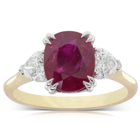 18ct Yellow Gold 3.00ct Ruby & Diamond Ring - Walker & Hall