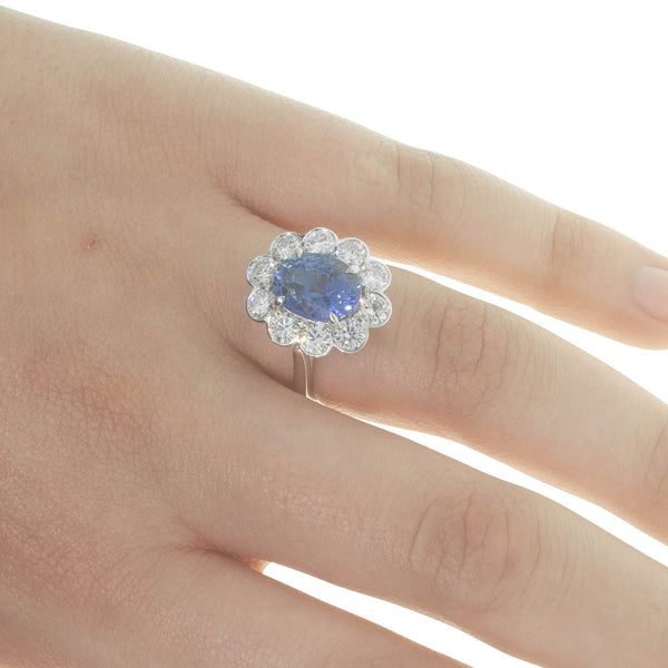 18ct White Gold 4.37ct Sapphire & Diamond Halo Ring - Walker & Hall