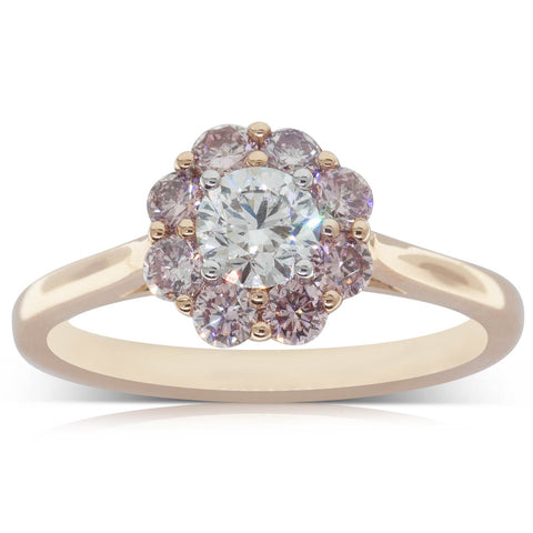 18ct Rose Gold .41ct Diamond Halo Ring - Walker & Hall