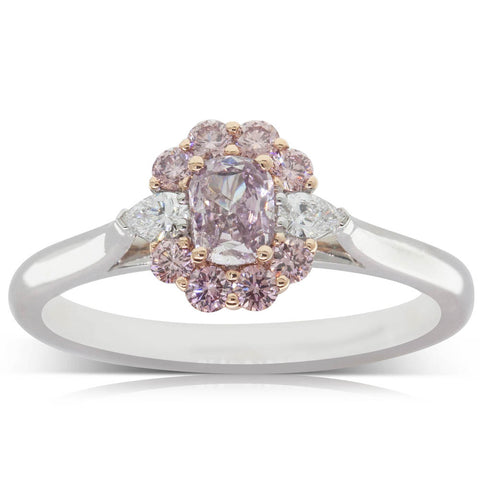 18ct White & Rose Gold .27ct Pink Diamond Halo Ring - Walker & Hall