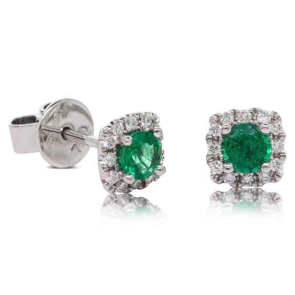 18ct white Gold .51ct Emerald & Diamond Peony Earrings - Walker & Hall