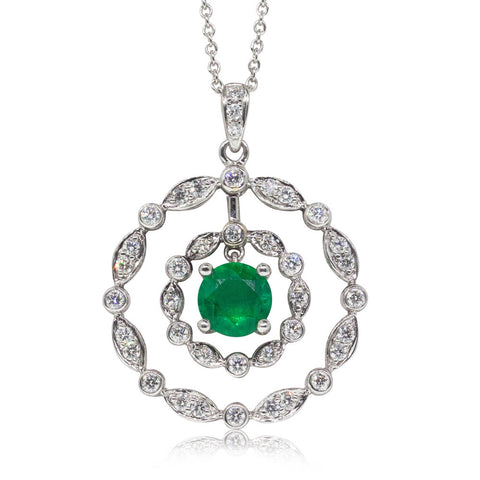 18ct White Gold .96ct Emerald & Diamond Halo Pendant - Walker & Hall