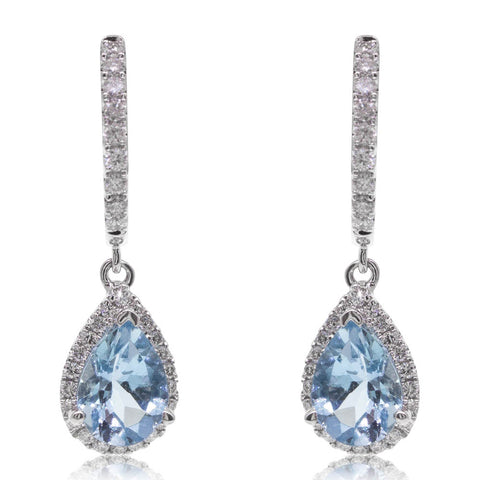 18ct White Gold 1.34ct Aquamarine & Diamond Halo Earrings - Walker & Hall