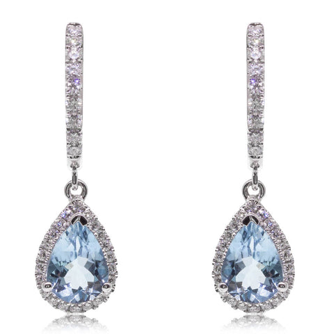18ct White Gold 1.09ct Aquamarine & Diamond Halo Earrings - Walker & Hall