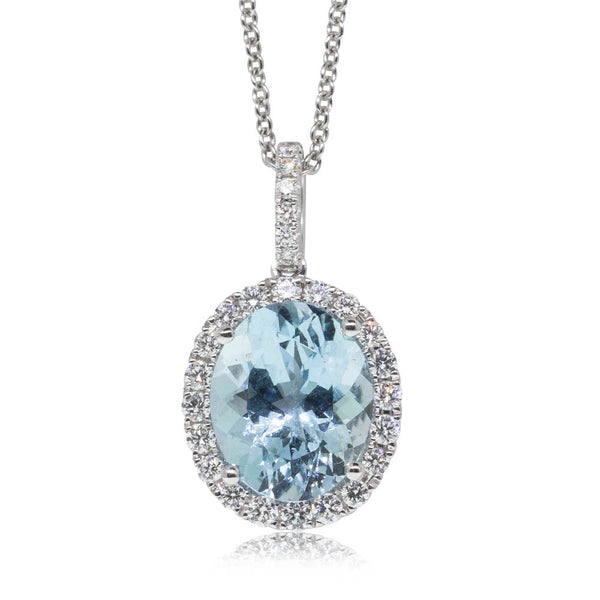 18ct White Gold 3.22ct Aquamarine & Diamond Halo Pendant - Walker & Hall