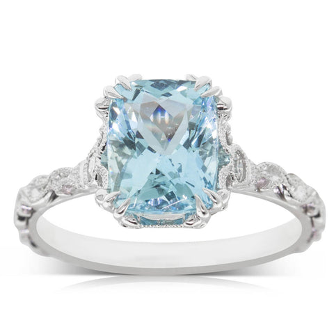 18ct White Gold 2.05ct Aquamarine Ring - Walker & Hall