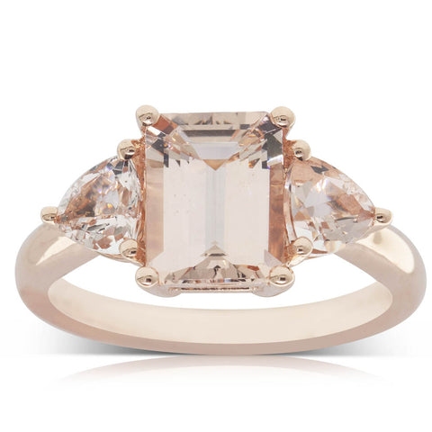 18ct Rose Gold 1.76ct Morganite Ring - Walker & Hall