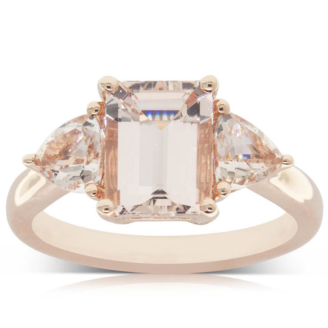 18ct Rose Gold 1.92ct Morganite Ring - Walker & Hall