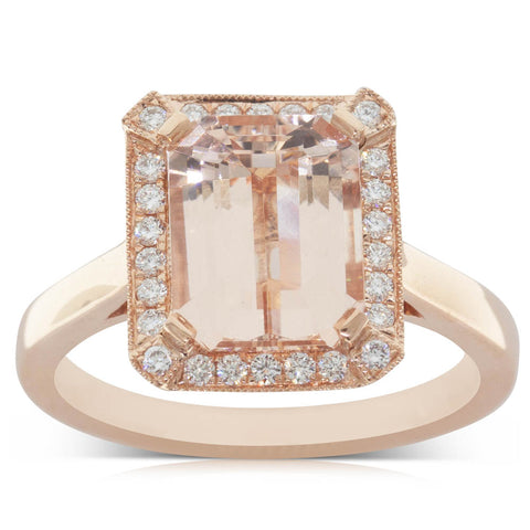 18ct Rose Gold 2.78ct Morganite & Diamond Halo Ring - Walker & Hall