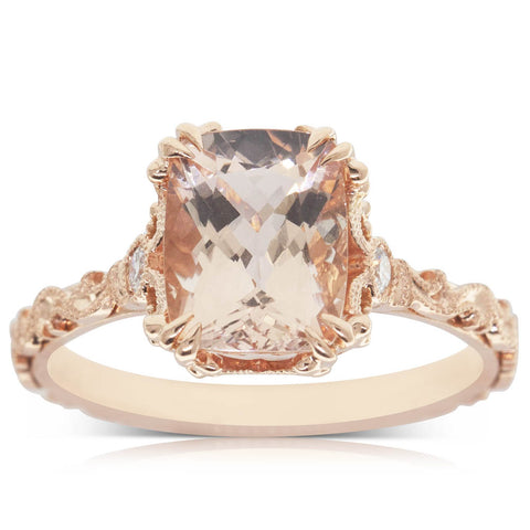 18ct Rose Gold 2.00ct Morganite & Diamond Ring - Walker & Hall