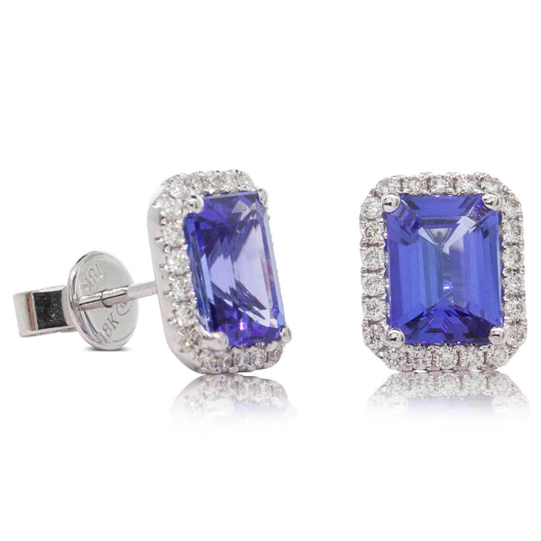 18ct White Gold 3.18ct Tanzanite & Diamond Halo Earrings - Walker & Hall