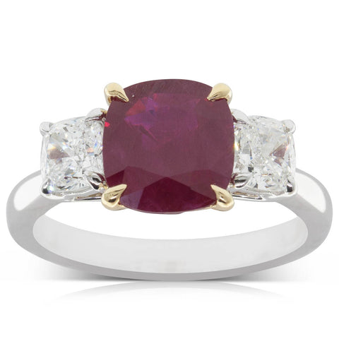 18ct White & Yellow Gold 2.26ct ruby & Diamond Ring - Walker & Hall