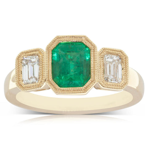 18ct Yellow Gold 1.33ct Emerald & Diamond Ring - Walker & Hall