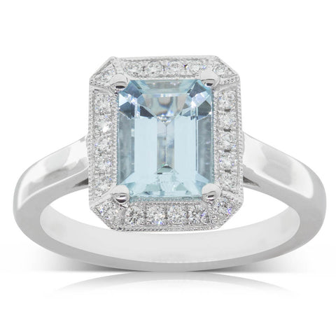 18ct White Gold 1.26ct Aquamarine & Diamond Empire Ring - Walker & Hall