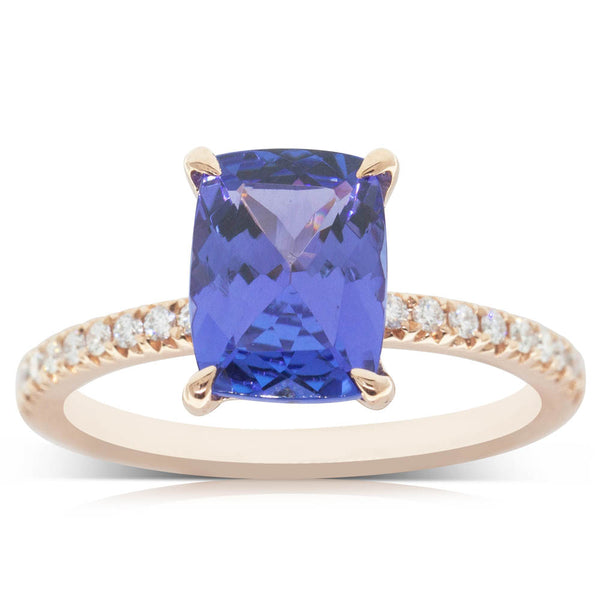 18ct Rose Gold 2.37ct Tanzanite & Diamond Ring - Walker & Hall