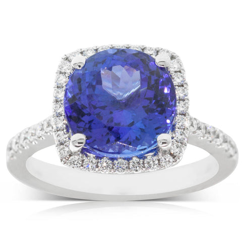 18ct White Gold Tanzanite & Diamond Halo Ring - Walker & Hall