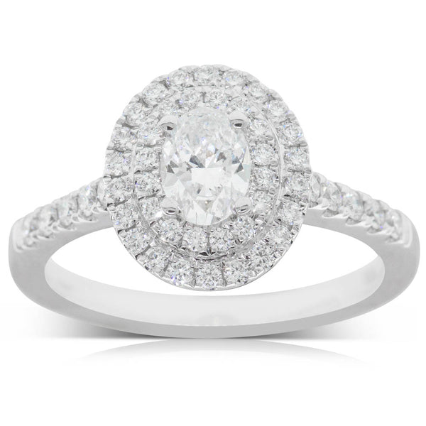 18ct White Gold .50ct Diamond Halo Ring - Walker & Hall