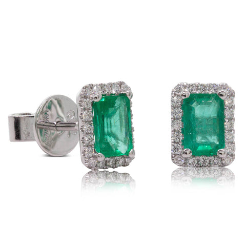 18ct White Gold .97ct Emerald & Diamond Halo Earrings - Walker & Hall