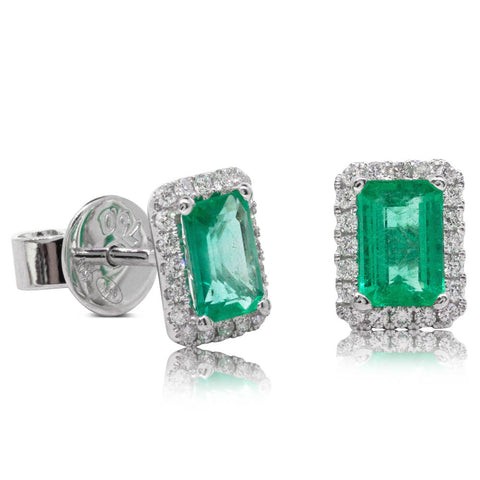 18ct White Gold .91ct Emerald & Diamond Halo Earrings - Walker & Hall