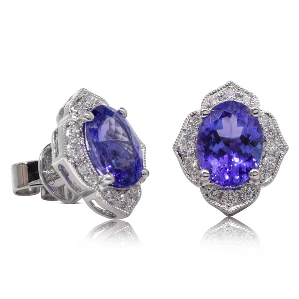 18ct White Gold 2.66ct Tanzanite & Diamond Halo Earrings - Walker & Hall