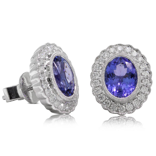 18ct White Gold 2.80ct Tanzanite & Diamond Halo Earrings - Walker & Hall