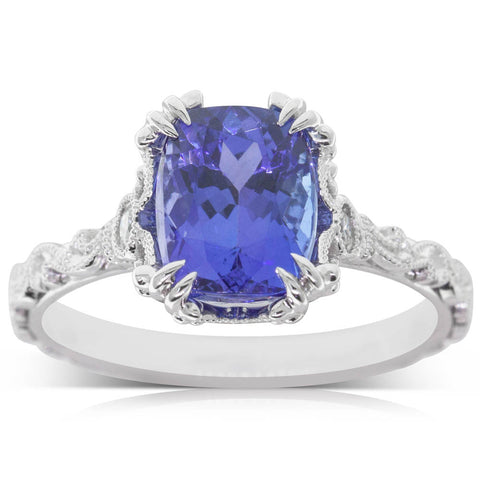 18ct White Gold 2.53ct Tanzanite & Diamond Ring - Walker & Hall