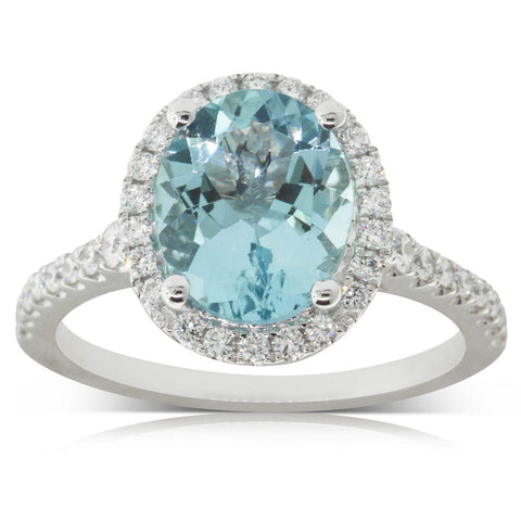 18ct White Gold 2.25ct Aquamarine & Diamond Ring - Walker & Hall