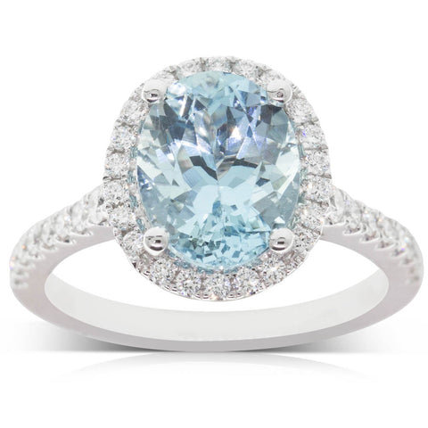 18ct White Gold 2.81ct Aquamarine & Diamond Halo Ring - Walker & Hall